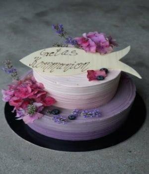 Ombré mit Blüten & Fisch (2 Wunschfarben)